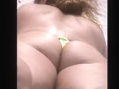 hot sexy mature huge ass tiny thong beach spy 33