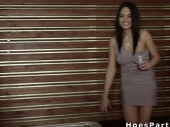 Sexy amateurs banging by the hot tub