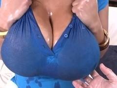 Selena Star's huge tits under the wet top