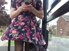 floral dress windy upskirt stockings