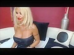 Smoking blonde in black dress, toy + 120