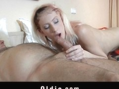 Oldman hotel customer fucks a horny young cleaning lady
