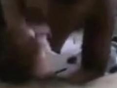 Ebony immature Sucks Her White BF's Pecker And Balls POV