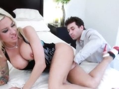 Heavy chested blonde Helly Hellfire rammed hard