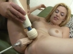 Busty blonde gets nailed by a fuck machine