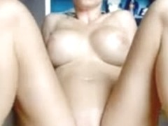 Shapely blonde expertly rides a rubber dick