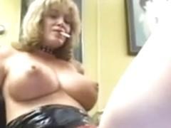 Blond female-dominator with 2 sheboy bondman Part 4