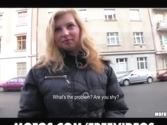 Shy blond Czech beauty assents to take money for a public fuck