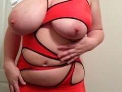 36G love melons Lateshay red mini petticoat and heels disrobe