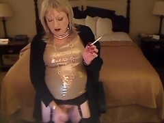 Horny homemade shemale movie with Stockings, Solo scenes