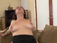 Babe with big tits rides a dick