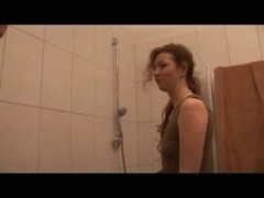 Slim MILF sucks and fucks the plumber in the bathroom