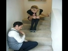 Smell and take up with the tongue her hot darksome kneesocks on stairs