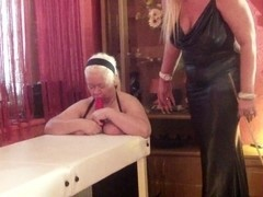 Fat mature blonde caned and made to suck dildo