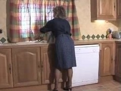 Agreeable Granny In Dark Hose Toying On The Steps