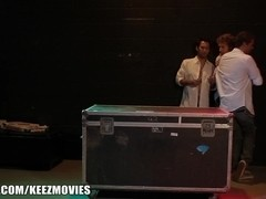 Three groupies sneak back stage to fuck their boyband crushes