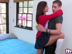 Super tight brunette teen Presley Dawson recieves an intense fucking with her boyfriend in her room