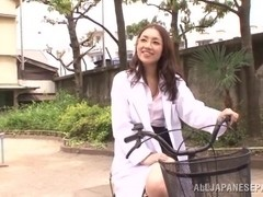 Wild nurse is a horny Japanese AV Model sucking cock