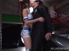 Arousing Asian race queen in hard rear fucking and a threesome