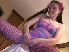 Fabulous stockings video with strapon, solo girl, handjob, fetish scenes