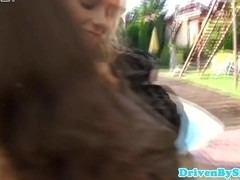 WAM euro hottie anal fists two babes outdoors