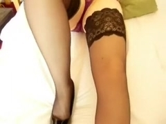 Spicy golden-haired mother i'd like to fuck penetrates her fanny with heels on sofa