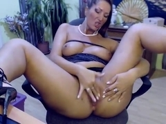 Depraved Kelly sultry hammers eager pussy and talks dirty