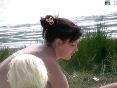 Topless girls beach shot collection in this voyeur video