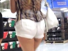 white shorts black thong