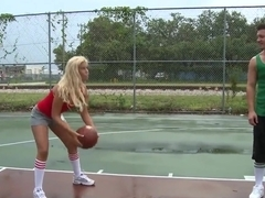 Blonde Bridgette B gets to hard fuck her basketball trainer