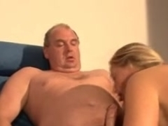Hot orgy with an old bitch fucking two young hard dicks