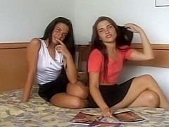 Twin GFs and their first porn episode