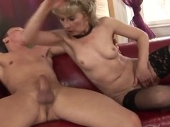Horny old lady Margarette fucks with a younger man