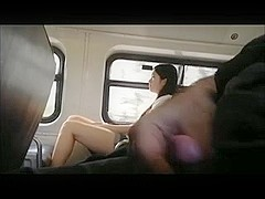 Exhibitionist wanks cock on a train