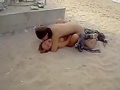 With a girl at the public beach