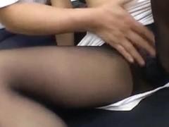 Hot Asian babe Misaki Inaba serves up a footjob at work