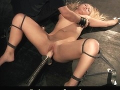 Blonde spanked and vibed till high climax