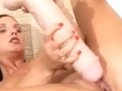 Viktorie stretching her constricted juicy vagina with a brutal sex toy