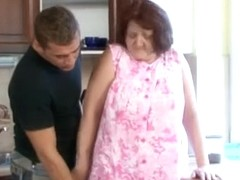 Kinky granny fucks young guy and gets spunk