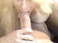Adult blonde in stockings sucked guy's cock and was creamed