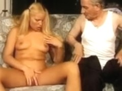grand-dad receives blond with pigtails