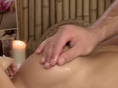 Satin Bloom gets a big cock reward after a massage