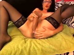 Sexy Milf In Stockings Toying Tight Pussy