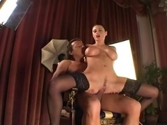 Sex with a breasty underware model in haunch highs