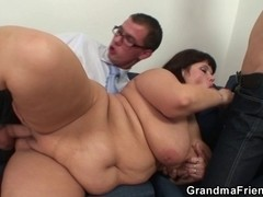 Her old chubby cum-hole is nailed by 2 ramrods