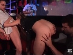 Horny babe double penetrated at a French club party
