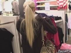Cindy Dollar facial jizz flow in shopping center