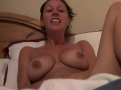 Big-titted slut rubbing her sweet snatch