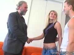 When Vika's boyfriend walks in on her fucking an old guy something happens