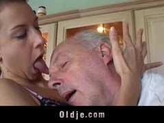 Brunette licks grandpa s sere skin and fucks him